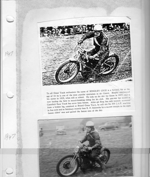 Bingley Cree 1947 Grass Track article