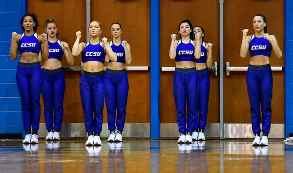 12/7/2019 Mike Orazzi | Staff Members of the CCSU Dance Squad during Saturday's mens basketball game with the University of Maine in New Britain.