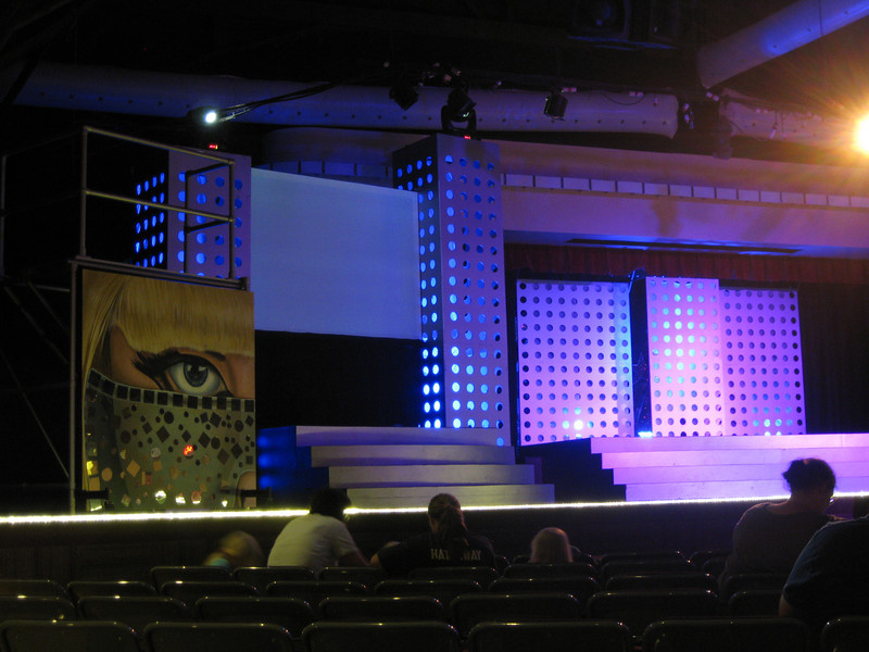 Dancehall Theater stage, decorated for the Tribute to Lady Gaga show.