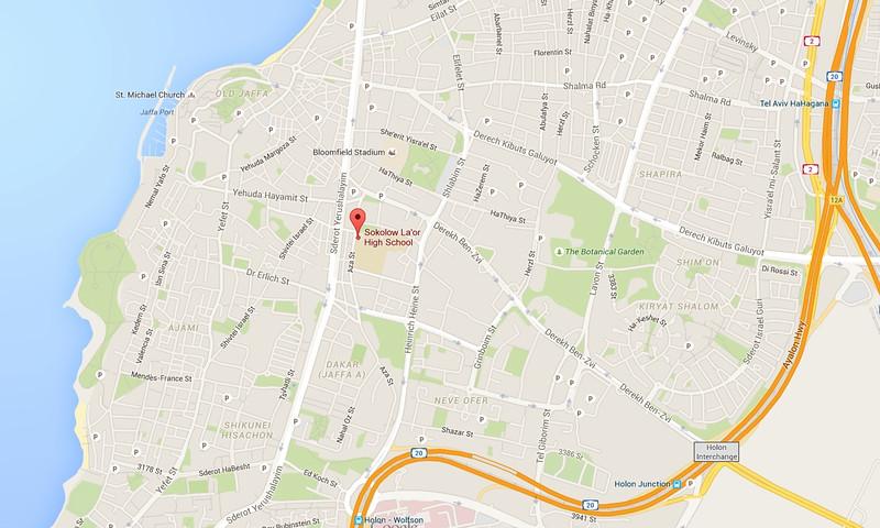 Location map, Sokolow-La'or High School, Jaffa