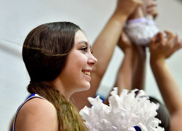 12/7/2019 Mike Orazzi | StaffrCCSU Cheerleaders during Saturday's mens basketball game with the University of Maine in New Britain. r