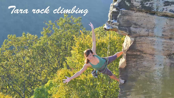 Tara climbing rocks
