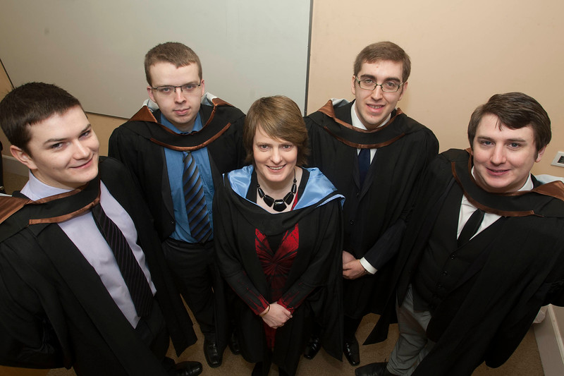 Pictured are Eoin Crosbie, Wexford, Cathal Gahan, Kilkenny, Mairead Meagher, Course Leader, Dean Vereker, Kilkenny, David Evans, Waterford who graduated Bachelor of Science (Honours) in Computing . Picture: Patrick Browne