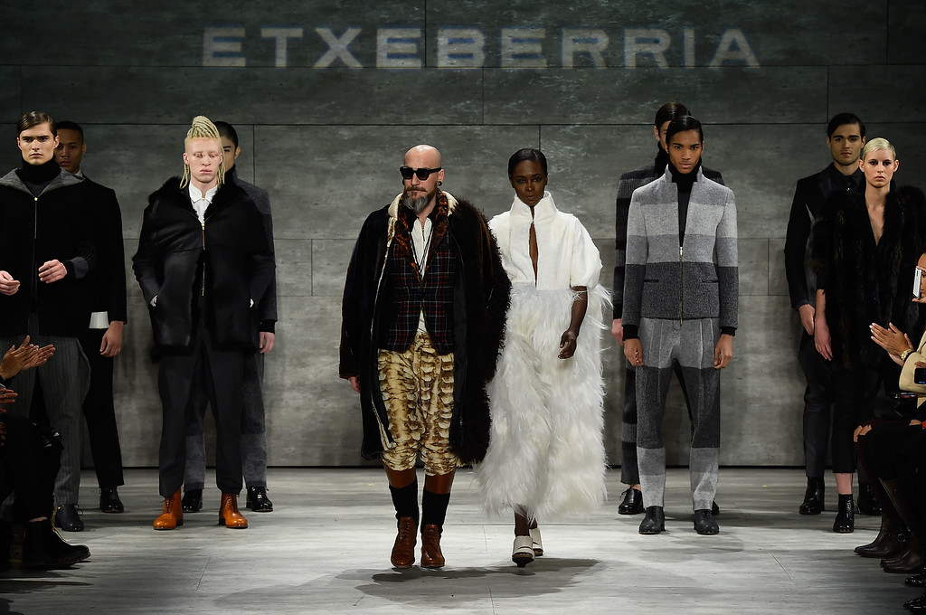 . NEW YORK, NY - FEBRUARY 15:  Designer Roberto Lopez Etxeberria and a model walk the runway at the Etxeberria fashion show during Mercedes-Benz Fashion Week Fall 2015 at The Pavilion at Lincoln Center on February 15, 2015 in New York City.  (Photo by Frazer Harrison/Getty Images for Mercedes-Benz Fashion Week)