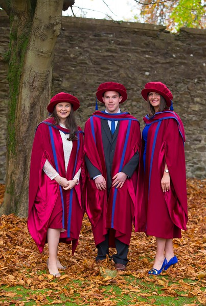 04/11/2016. Waterford Institute of Technology (WIT) Conferring Ceremonies November 2016:  Pictured are Monica Murphy, Tallow, Co. Waterford, David Aylward, Mullinavat, Co. Kilkenny and Aisling O'Neill, Butlerstown, Co. Waterford who were conferred with PhDs. Picture: Patrick Browne