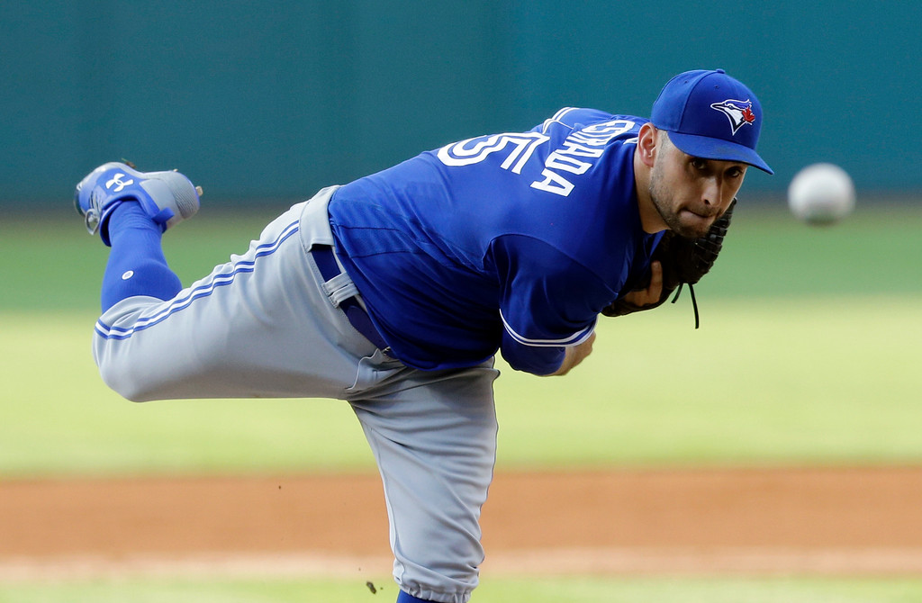 . Toronto Blue Jays starting pitcher Marco Estrada delivers during the first inning of the team\'s baseball game against the Cleveland Indians, Friday, July 21, 2017, in Cleveland. (AP Photo/Tony Dejak)