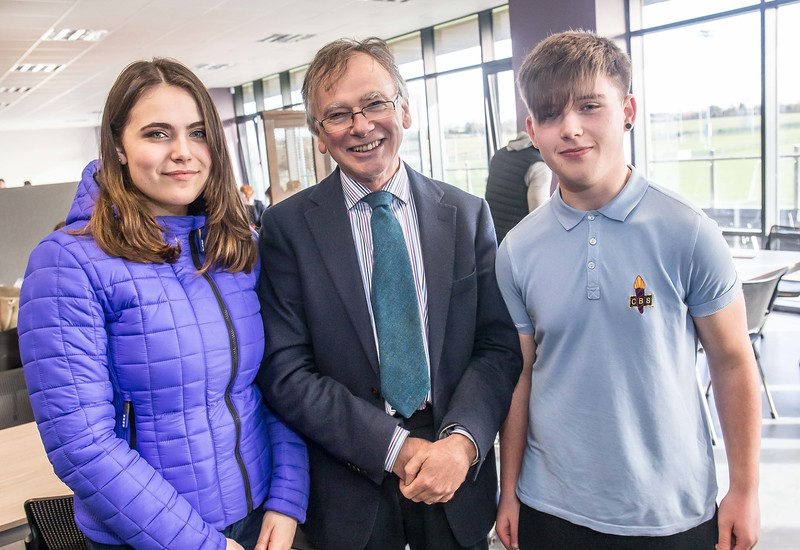 Prof. William Donnelly with Amy O'Dowd, Enniscorthy Vocational College and Niall Kenny, CBS Enniscorthy during the Waterford Institute of Technology Schools' Open Day at the WIT Arena. On Saturday, 20 January, WIT is running another open day, the #StudyatWIT Open Day which will have information available on all courses available across WIT's schools of Lifelong Learning, Humanities, Engineering, Science & Computing, Health Sciences, Business. Picture: Pat Moore