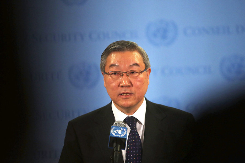 . South Korea\'s Foreign Minister Kim Sung-hwan speaks to the media at the United Nations following Security Council Consolations after North Korea announced they have conducted a third nuclear test on February 12, 2013 in New York City. North Korea claimed the device was smaller than in previous tests. Leaders around the world have condemned the nuclear test and have called for swift action against the reclusive country.  (Photo by Spencer Platt/Getty Images)
