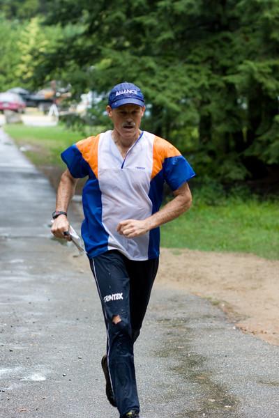 Running towards the finish.