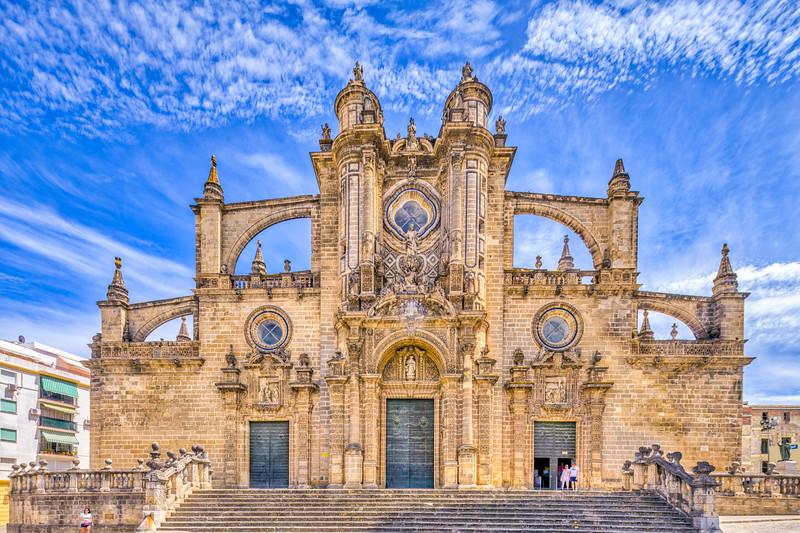 Facade of the Cathedral, Jerez de la Frontera, Spain.