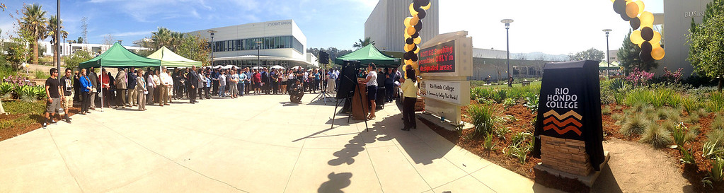 . Students and faculty listen to speakers during a celebration of the Rio Hondo Colleges 50th anniversary with a time capsule burial, cake at Rio Hondo College on Thursday, March 14, 2013 in Whittier, Calif.  (Keith Birmingham Pasadena Star-News)