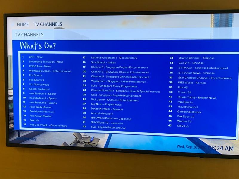 The TV selection menu