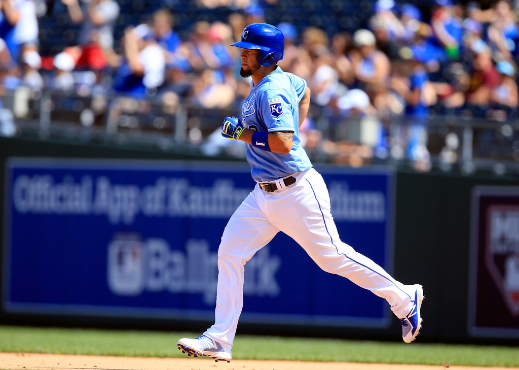 . Kansas City Royals\' Cheslor Cuthbert after hitting a two-run single during the fifth inning of a baseball game against the Cleveland Indians at Kauffman Stadium in Kansas City, Mo., Sunday, Aug. 20, 2017. (AP Photo/Orlin Wagner)