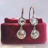3.07ctw Double Old European Cut Dangle Earrings 4