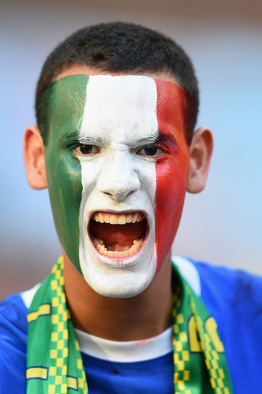 . \\An Italy fan shows his support prior to the 2014 FIFA World Cup Brazil Group D match between England and Italy at Arena Amazonia on June 14, 2014 in Manaus, Brazil.  (Photo by Christopher Lee/Getty Images)