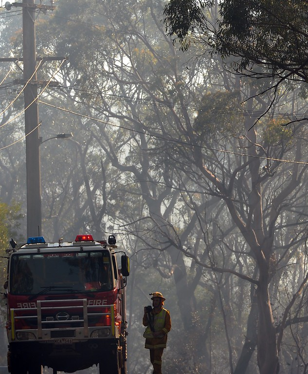 . A firefighter is pictured next to a truck along a neighborhood street following a bush fire near Faulconbridge in the Blue Mountains on October 23, 2013.  Firefighters in Australia battled hot, dry winds and soaring temperatures as new blazes began breaking out in a week-long bushfire disaster that shows no signs of easing.  AFP PHOTO / Saeed KHAN/AFP/Getty Images