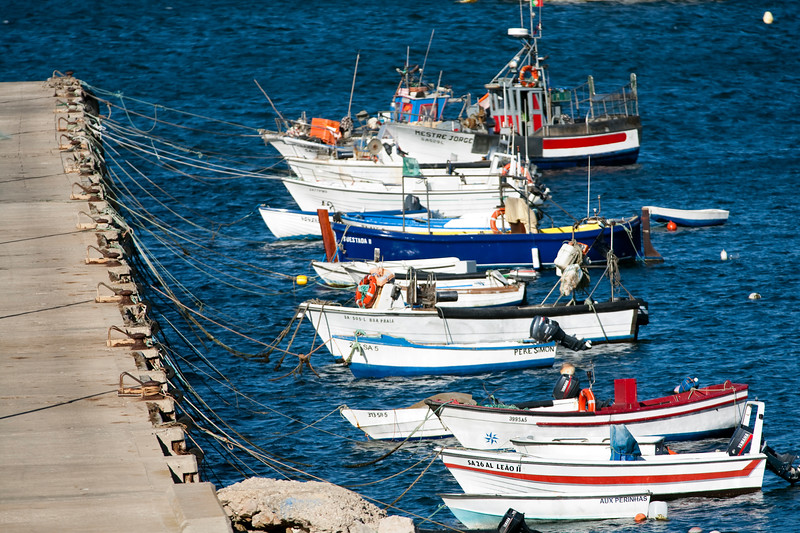 Moored boats at the port, town of Sagres, municipality of Vila do Bispo, district of Faro, region of Algarve, southwestern Portugal