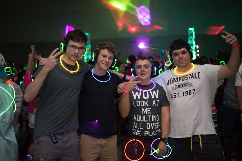 Brian Stanton (left), Tyler Hoover, Charles Koch and Juaquin Avila.  Monday August 22, 2016 during the New Student Orientation Glow Party.
