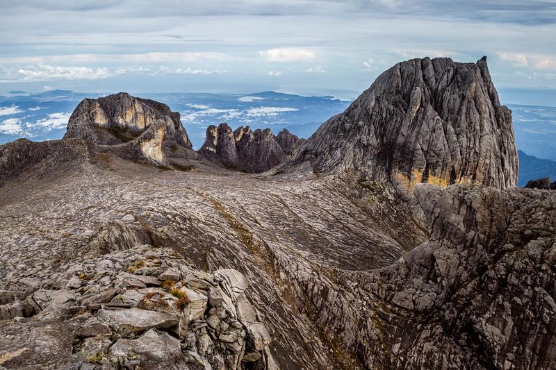Oyayubi Iwu Peak, Alexandra Peak & Dewali Pinnacles, as seen from the summit of Mount Kinabalu, Borneo (4,095m)