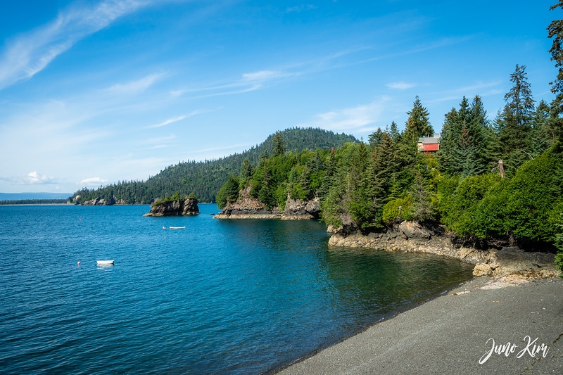 The view of 5 O'Clock Bay in Halibut Cove