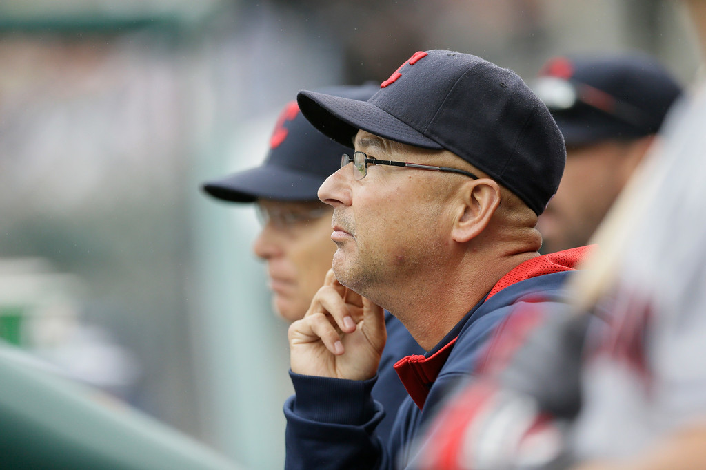 . Cleveland Indians manager Terry Francona is seen in the dugout during the seventh inning in the first baseball game of a doubleheader against the Detroit Tigers, Saturday, July 19, 2014 in Detroit. (AP Photo/Carlos Osorio)