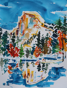 """Yosemite Half Dome from Bridge 3"" (watercolor) by Theodore Heublein"