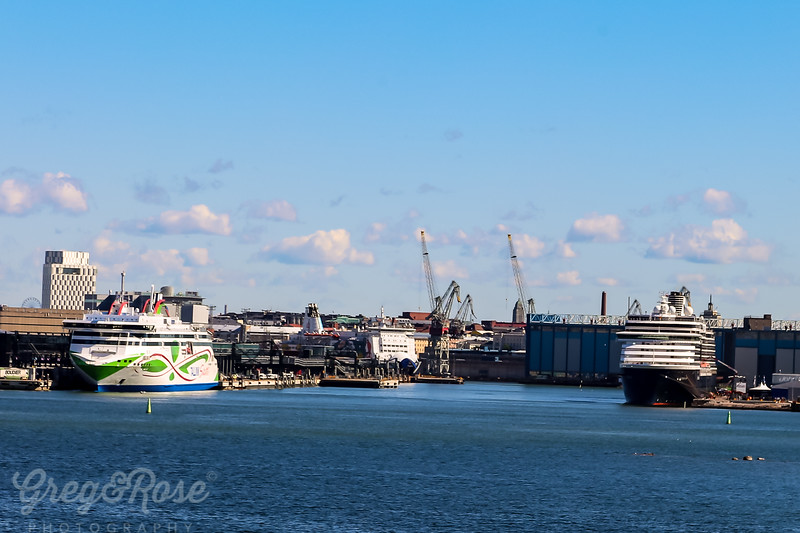 On the Left the Tallinn Ferry and the Right a Cruise Ship