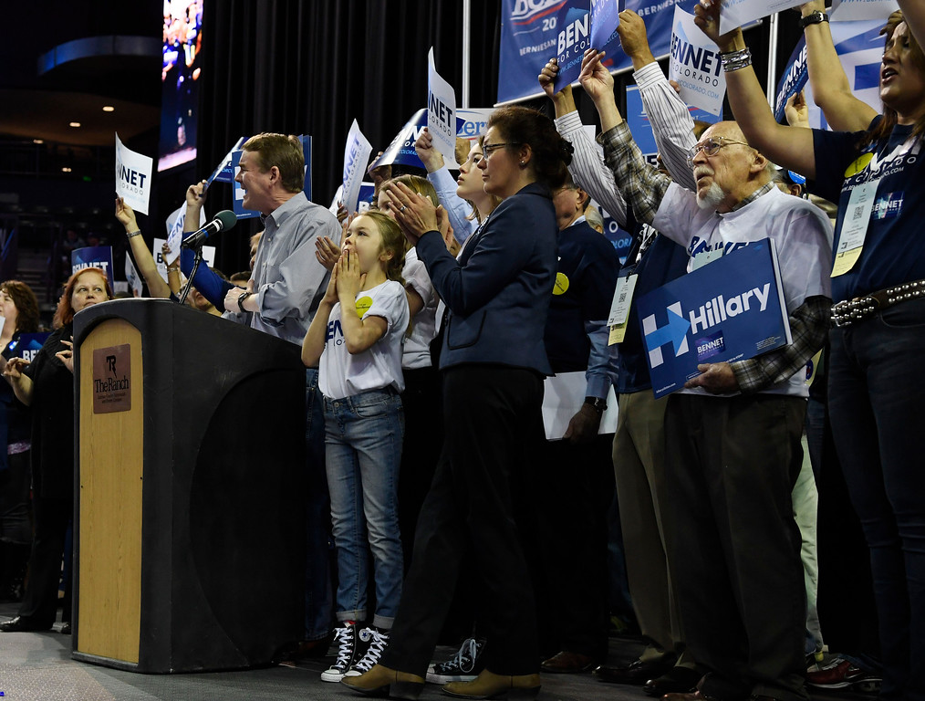 . Colorado U.S. Senator Michael Bennet on stage at the Colorado Democratic State Convention at the Budweiser Events Center April 17, 2016. (Photo by Andy Cross/The Denver Post)