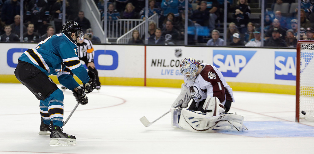 . San Jose Sharks\' Patrick Marleau, left, scores the game winning goal against Colorado Avalanche goalie Semyon Varlamov during a shootout in an NHL hockey game Tuesday, Feb. 26, 2013, in San Jose, Calif. (AP Photo/Ben Margot)