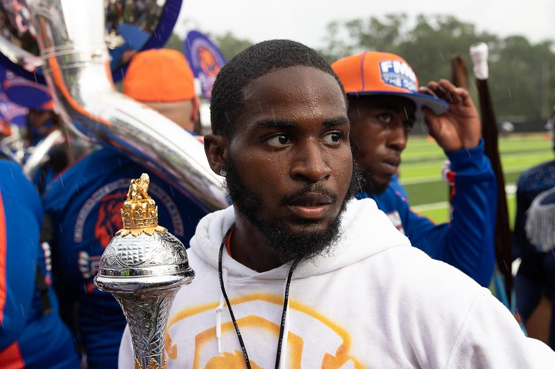 Florida Memorial's drum major led The Marching Roar to their first halftime performance during an Aug. 28, 2021 football game in Jacksonville against Edward Waters University