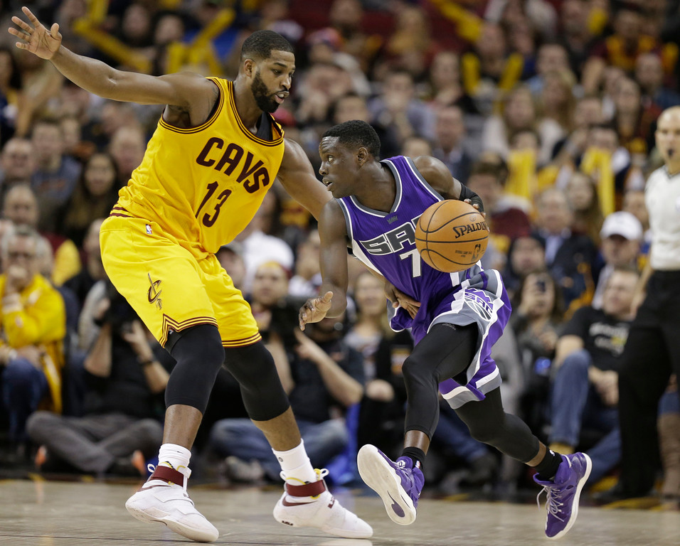 . Sacramento Kings\' Darren Collison (7) drives against Cleveland Cavaliers\' Tristan Thompson (13) in the second half of an NBA basketball game, Wednesday, Jan. 25, 2017, in Cleveland. The Kings won 116-112 in overtime. (AP Photo/Tony Dejak)