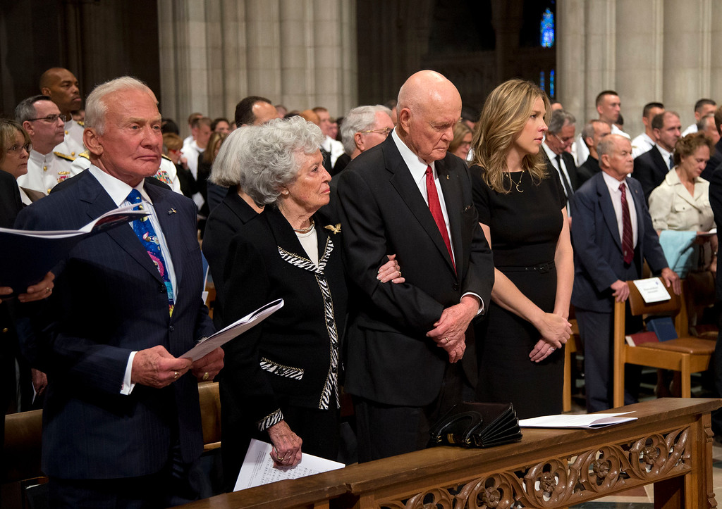 . From left, Apollo 11 astronaut Buzz Aldrin, Annie Glenn, wife of former Ohio Sen. John Glenn, Jonh Glenn and singer Diana Krall pause during a memorial service for Apollo 11 astronaut Neil Armstrong, Thursday, Sept. 13, 2012,  at the National Cathedral in Washington.  (AP Photo/Pool, Evan Vucci, Pool)