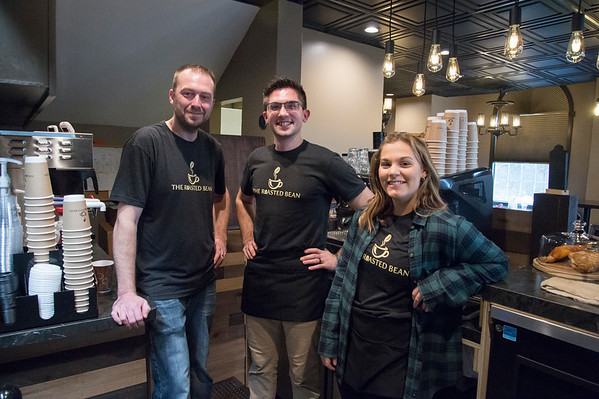 01/27/20 Wesley Bunnell | StaffrrCo-owner Doug Lamonthe, L, employee Nathan Virovoy, and employee Julia Pahl the Roasted Bean coffee shop. The shop which opened approximately two weeks ago is located at 934 Terryville Ave in Bristol.