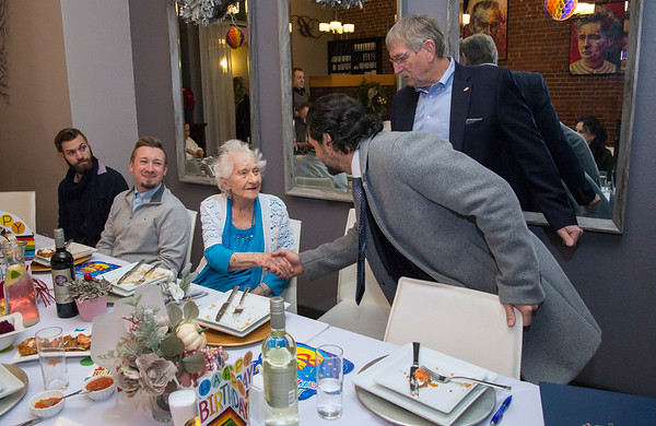 01/10/20 Wesley Bunnell | StaffrrAnne Durant , who turned 100 on January 2nd, celebrated her 100th birthday with a party at Belvedere Restaurant on Friday evening with special guests State Senator Gennaro Bizzarro and Lt. Gov. Susan Bysiewicz. Durant shakes hands with Senator Gennaro Bizzarro as former mayor Lucian Pawlak looks on.