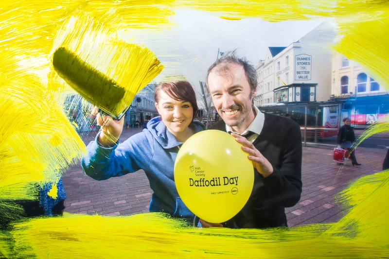 Local Business owners Kate O'Flynn, Wild Ways and Daragh Fitzgerlad, Oscars on Patrick St, Cork to launch 'Paint the Town Yellow', to raise awareness for the Irish Cancer Society Daffodil Day which takes place across the country on the 27th of March.  Pic Darragh Kane