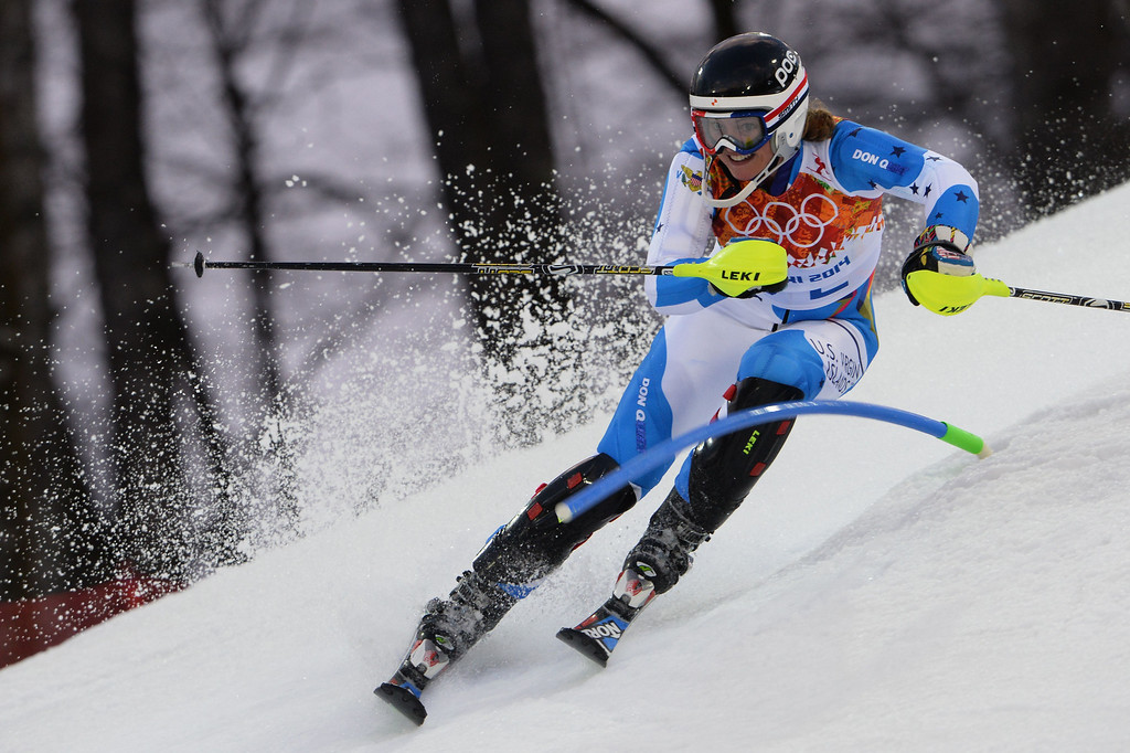 . Virgin Island\'s Jasmine Campbell competes during the Women\'s Alpine Skiing Slalom Run 1 at the Rosa Khutor Alpine Center during the Sochi Winter Olympics on February 21, 2014.          AFP PHOTO / DIMITAR DILKOFF/AFP/Getty Images