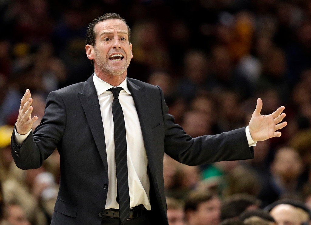 . Brooklyn Nets coach Kenny Atkinson yells to players during the first half of an NBA basketball game against the Cleveland Cavaliers, Wednesday, Nov. 22, 2017, in Cleveland. The Cavaliers won 119-109. (AP Photo/Tony Dejak)