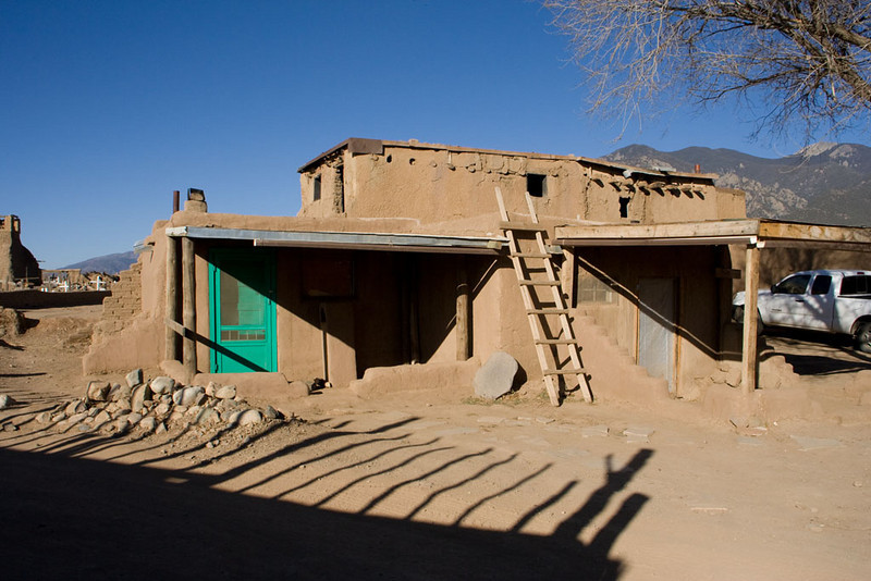 At Taos Pueblo, you pay an admission fee ($10) and a camera fee ($5) to walk around the pueblo, which has been occupied for about 1000 years. In this central part of the town, residents agree to have no electricity and no running water.