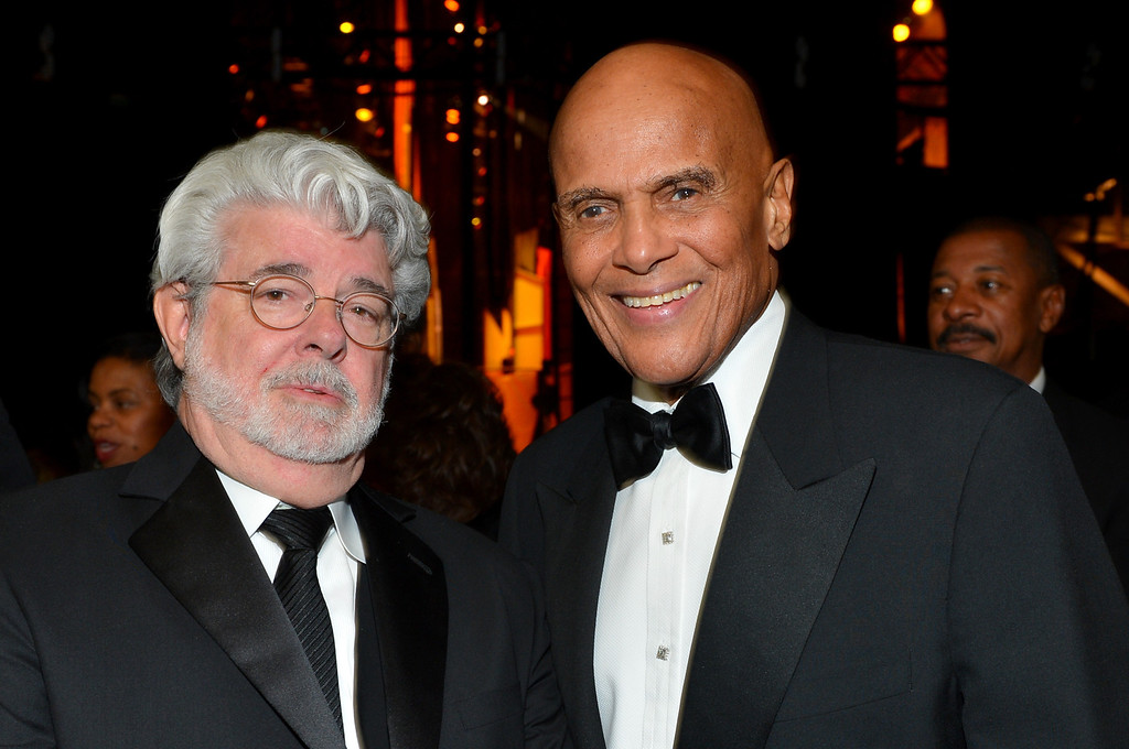 . LOS ANGELES, CA - FEBRUARY 01:  Producer George Lucas (L) and honoree Harry Belafonte attend the 44th NAACP Image Awards at The Shrine Auditorium on February 1, 2013 in Los Angeles, California.  (Photo by Alberto E. Rodriguez/Getty Images for NAACP Image Awards)