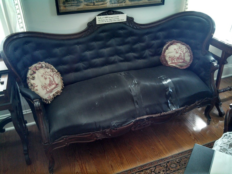 This couch from the Meeker Inn can be seen at the Caldwell Parsonage Museum.