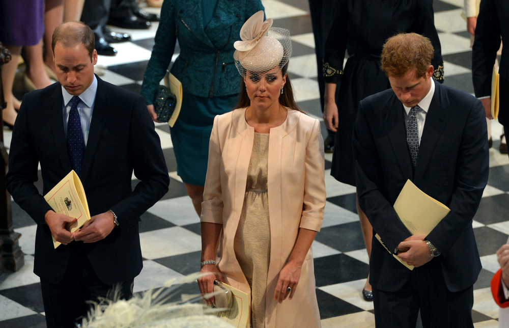 . Prince William, The Duke of Cambridge, Catherine, the Duchess of Cambridge and Prince Harry leave following the service to celebrate the 60th anniversary of the Coronation of Queen Elizabeth II at Westminster Abbey in London on June 4, 2013.   Queen Elizabeth II marked the 60th anniversary of her coronation with a service at Westminster Abbey filled with references to the rainy day in 1953 when she was crowned.  Anthony Devlin/AFP/Getty Images