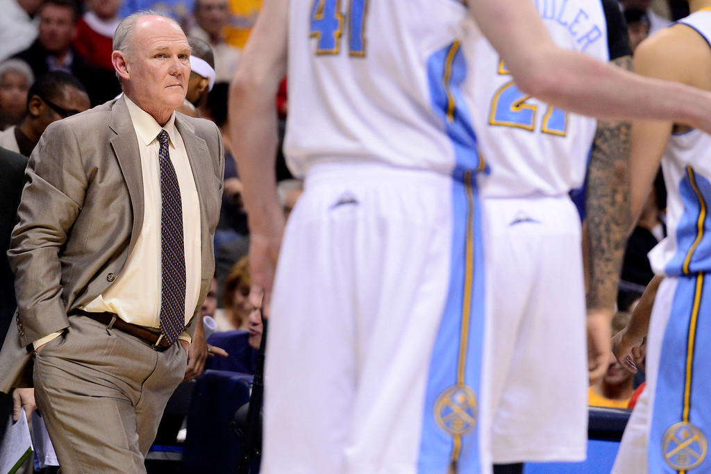 . DENVER, CO - APRIL 14: George Karl of the Denver Nuggets looks at his team during the first half of action. The Denver Nuggets play the Portland Trail Blazers at the Pepsi Center. (Photo by AAron Ontiveroz/The Denver Post)