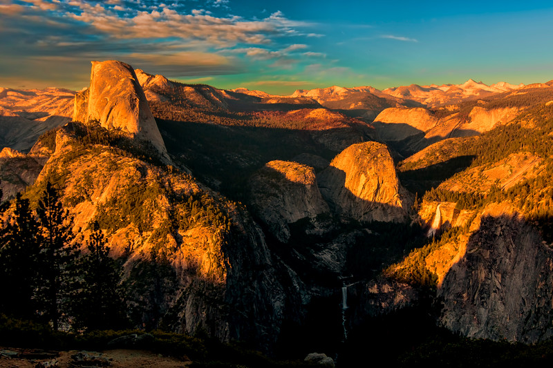Yosemite from Glacier Point - Half Dome, Nevada Fall (the upper fall), and Vernal Fall (the lower fall) at Sunset