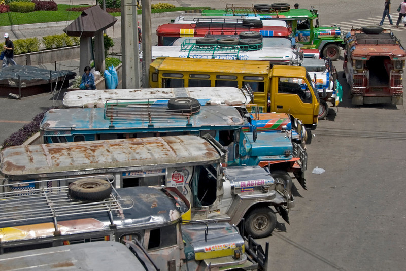 Jeepneys waiting on passengers at a terminal in Baguio, Philippines