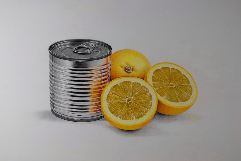 """""""Can and Lemons"""" (colored pencil and graphite) by Paco Martin"""