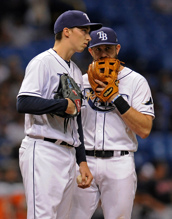 . Tampa Bay Rays third baseman Evan Longoria, right, talks to pitcher Blake Snell on the mound after a walk to Cleveland Indians\' Edwin Encarnacion during the fourth inning of a baseball game Thursday, Aug. 10, 2017, in St. Petersburg, Fla. (AP Photo/Steve Nesius)