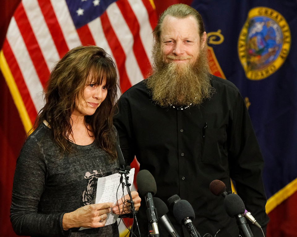 . Jani and Bob Bergdahl speak to the media during a news conference at Gowen Field in Boise, Idaho, on Sunday, June 1, 2014. Their son, Sgt. Bowe Bergdahl is back in American hands, freed for five Guantanamo terrorism detainees. (AP Photo/Otto Kitsinger)