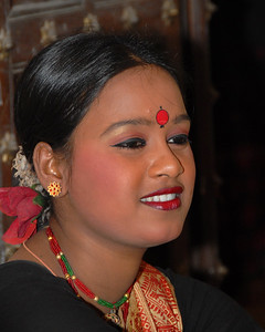 Men and women of the dance troupe from West Bengal that performed at the Rajasthan Day Celebrations in Jaipur, March/April 2007, India.  With the aim of showcasing Rajasthan State's culture & heritage and reviving the traditional sports, cuisines and folk-art, Rajasthan Diwas Celebrations were held from 21st March to 30th March 2007. Craft-Bazaar, Food Festival, Night Bazaar, Sports competitions, spectacular fire-works, Mega Cultural Concerts, and competitions for school students were organized.