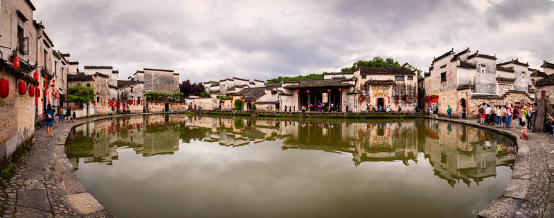 "The ""Moon Pond"" in the village center of Hongcun, China."