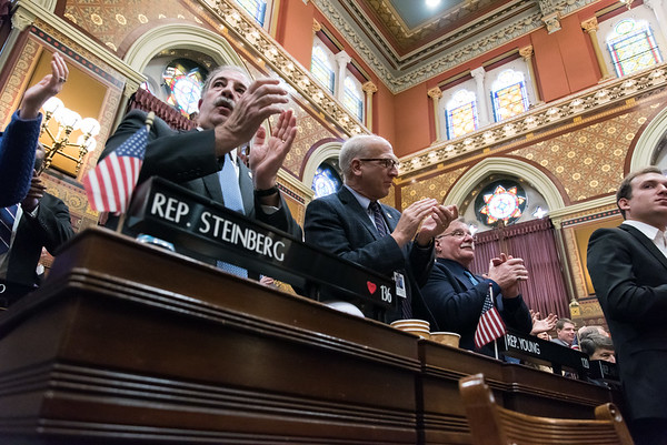 01/09/19 Wesley Bunnell | Staff State Rep. Steinberg and State Rep. Young stand and applaud during Governor Ned Lamont's State of the State address.